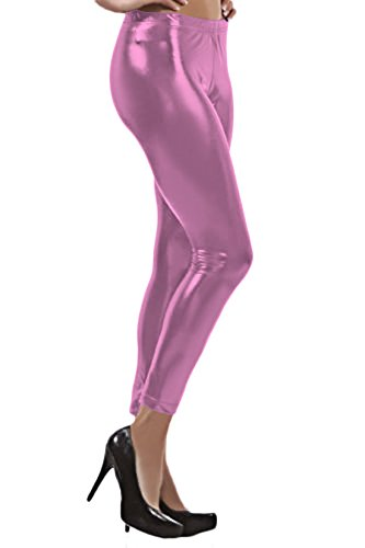 Marvoll Women's Shiny Wet Liquid Look Metallic Stretch Leggings Tights Pants (X-Large, Pink)
