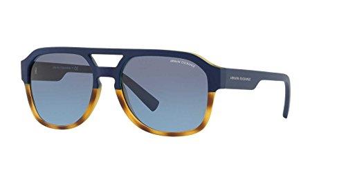 Armani Exchange Men's Plastic Man Rectangular Sunglasses, Matte Havana/Matte Blue, 57 - Code Hut Sunglass