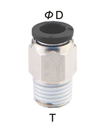 Push To Connect Fittings >> Pneumaticplus Pc 1 4 N2 Push To Connect Tube Fitting Male Straight 1 4 Tube Od X 1 4 Npt Thread Pack Of 10