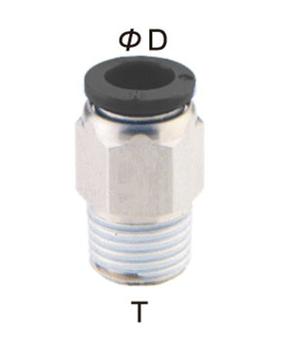 PneumaticPlus PC-1/4-N2 Push to Connect Tube Fitting, Male Straight - 1/4'' Tube OD x 1/4'' NPT Thread (Pack of 10) by PneumaticPlus