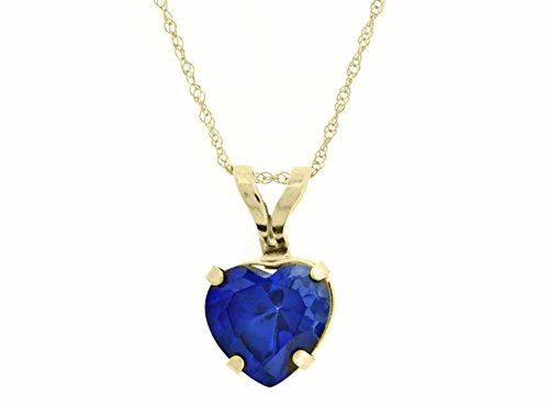 .9 cttw Heart 6MM Blue Sapphire 10K Pendant 18