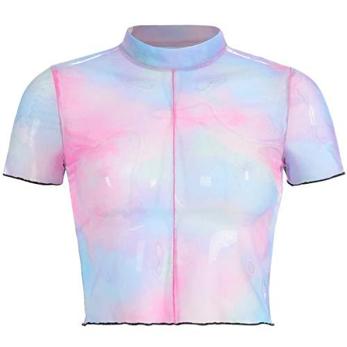 Women's Crop Holographic Top Mesh See Through Tie Dye Short Sleeve T-Shirt Pink Blue ()
