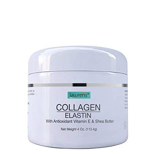 Collagen Elastin Cream with Antioxidant Vitamin E & Shea Butter by Lawrens Cosmetics - Hydration - Firmness - Elasticity - 4 oz