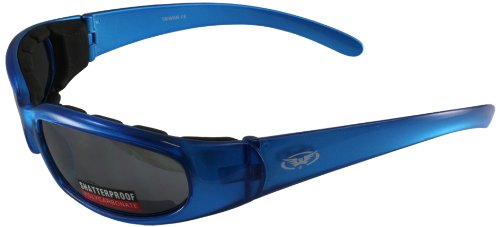 Blue Frame//Smoke Lens Global Vision Motorcycle Riding Glasses with Mirror Finish CHICAGO2BLFM