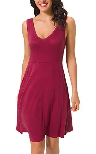 Zevrez Sleeveless Tank Flared Tunic V Pocket Neck Women's Red Casual Wine Dress Dress SrxFTS5q