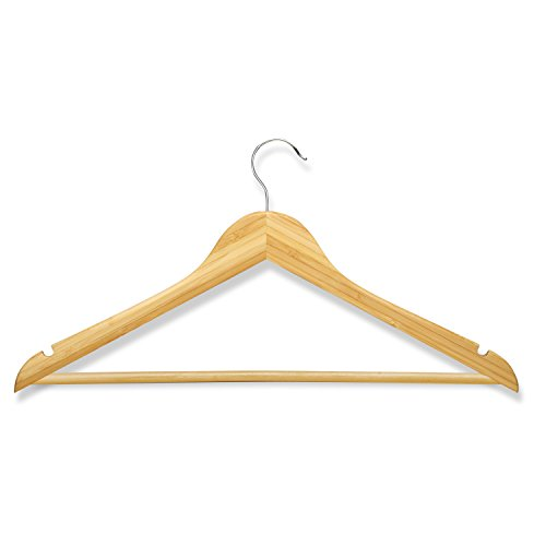 Honey-Can-Do Bamboo Wood Hangers with Non-Slip Grooved Bar, Natural, Set of 8