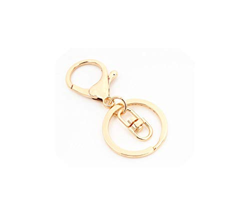 30mm Key Ring Long Popular Classic Plated Lobster Clasp Key Hook Chain Keychain,S1-01-14K Gold