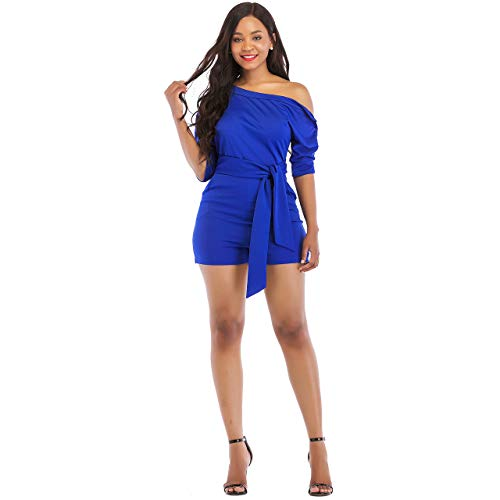 One Shoulder Rompers for Women Shorts Elegant Night Sexy Casual Summer Jumpsuits Dress Wide Leg Pants Plus Size Blue XXL