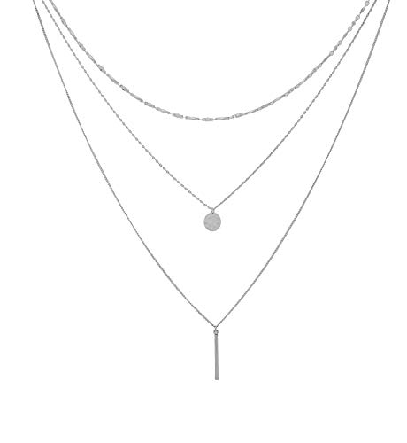 YEYA Layered Choker Necklace Disk Long Chain Pendant Necklace Y Necklace for Woman (Silver)