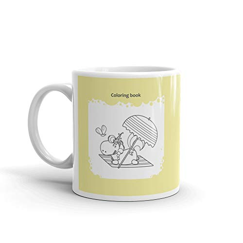 Cute Unicorn Lies Under Parasol On A Beach Coloring Page Kids Favorite Drink Mug 11 Oz Ceramic