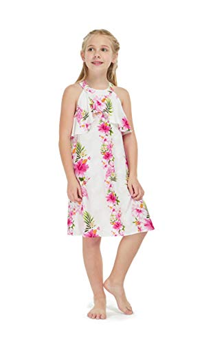 Girl Hawaiian Round Neck with Ruffle Dress in Pink Hibiscus Vine Size -