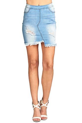 Khanomak Women's Raw Cut Asymmetrical Hem Distressed Denim Mini Skirt (Blue,Small)