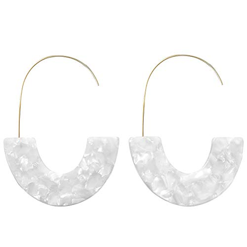 Tortoise Acrylic Half Round Hoop Drop Earrings KELMALL COLLECTION