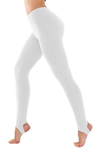 Deriving heliconia Women's High Waist Stirrup Yoga Running Gym Pants Leggings (X-Large, White) Ladies Stirrup