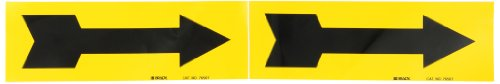 """Brady 76507 2-1/4"""" Height, 7"""" Width, B-946 High Performance Vinyl, Black On Yellow Color Self-Sticking Vinyl Arrow For 3"""" To 6"""" Maximum Outside Pipe Diameter"""
