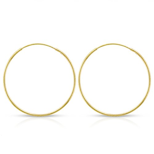 14k Yellow Gold Women's Endless Tube Hoop Earrings 1mm Thick 10mm - 20mm ()
