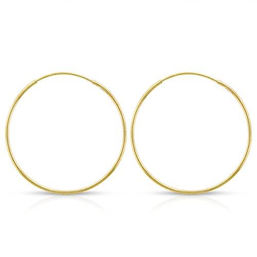 14k Yellow Gold Women's Endless Tube Hoop Earrings 1mm Thick 10mm - 20mm (20mm) 14k Yellow Gold Thick Hoop