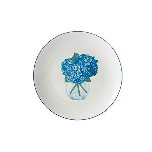 - Western-style glazed ceramic tableware blue bouquet pattern light plate plate 20.7cm