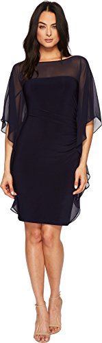 Sheer Matte Jersey Dress (Lauren by Ralph Lauren Women's Aianna Matte Jersey With Georgette Dress Navy 0)