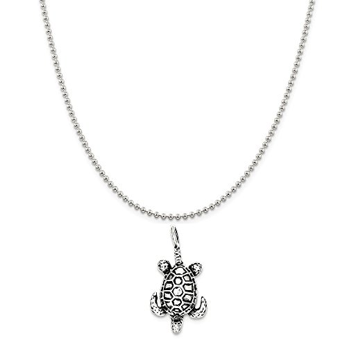 Sterling Silver Antiqued Sea Turtle Pendant on a Sterling Silver Ball Chain Necklace, ()