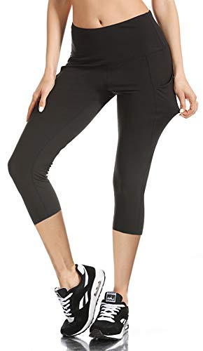 Opuntia Women's Tummy Control High Waist Workout Yoga Pants Non See-Through Running Sports Gym Leggings with Pocket Capris Black L