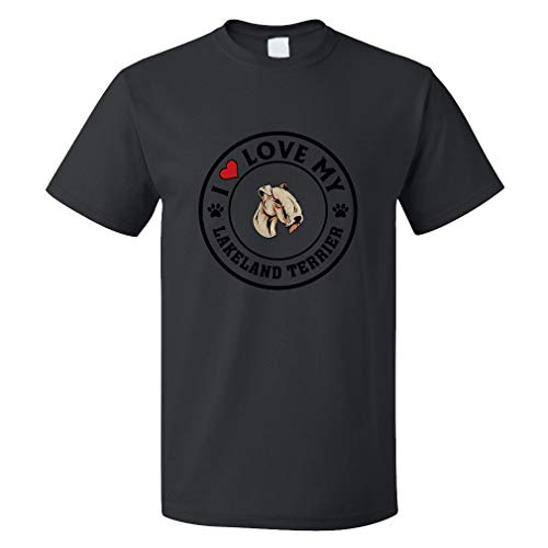 Custom Funny Graphic T Shirts for Men I Love My Lakeland Terrier Dog Style A Cotton Top Black Design Only 2X ()