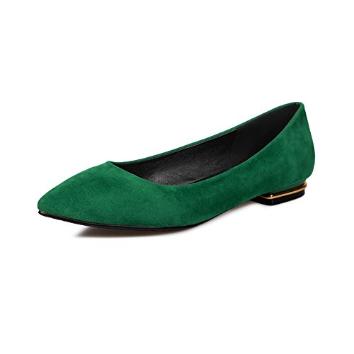 BalaMasa Ladies Square Heels Pointed-Toe Pull-On Green Suede Flats-Shoes - 6.5 B(M) US -
