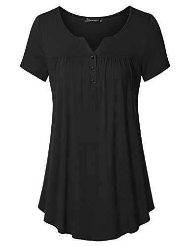 Vinmatto Women's Short Sleeve Henley V Neck Pleated Button Details Tunic Shirt Top(XL,Black) ()