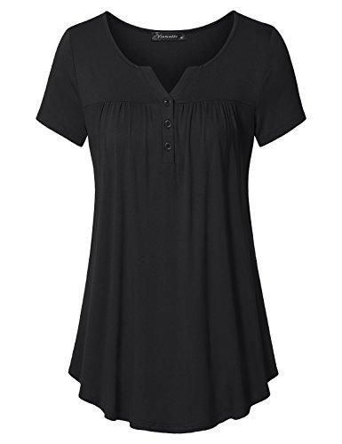 - Vinmatto Women's Short Sleeve Henley V Neck Pleated Button Details Tunic Shirt Top(M,Black)