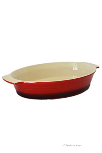Large 52oz Vintage-Red Stoneware Oven-Safe Baking Casserole Dish with Handles