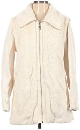 Dennis by Dennis Basso Faux Fur Jacket with Faux Leather Zip out Sleeves Ivory