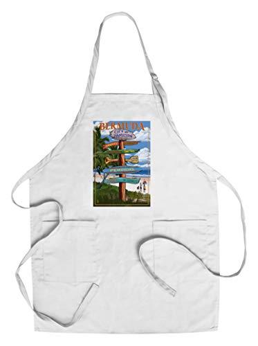 Bermuda - Destinations Sign (Cotton/Polyester Chef's Apron)