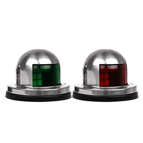 LemonBest Stainless Steel 12V Marine Boat Yacht Light LED Bow Navigation Side Lights Pontoons Sailing Signal Light One Pair Red & Green (Red Light & Green -