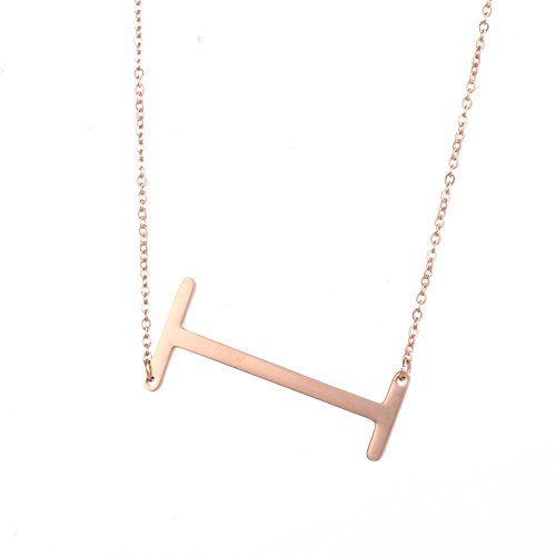 DIANE LO'REN 18kt Rose Gold Plated Women's Classic Stainless Steel Big Letter Necklace Sideways Initial Chain Script Pendant Name Long Necklaces for Women (Rosegold Letters A-Z) ()