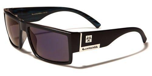 Biohazard Mens Womens Unisex Stylish Riding Driving Sunglasses-BZ753 (BLACK-BLUE - Sunglasses Biohazard