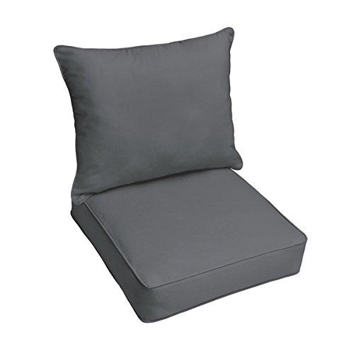 Sloaneチャコールグレーインドア/アウトドアコード付き椅子クッションと枕セット   B01L5GV7WW