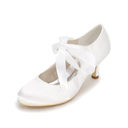 Tie Wedding Shoes Closed Spool Middle Heel Heel Ribbon With Shoes White L YC Satin Women's High Pumps Spool Upper Bridal Toe zxYnTqaEPw