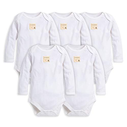 Burt's Bees Baby - Set of 5 Bee Essentials Solid Long Sleeve Bodysuits, 100% Organic Cotton, Cloud (6-9 Months)