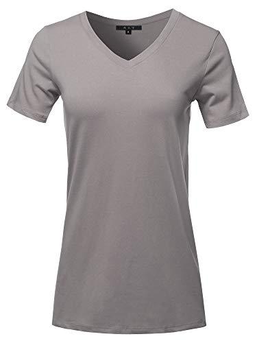 Basic Solid Premium Cotton Short Sleeve V-Neck T Shirt Tee Tops Mid Grey 1XL (Shirt Spandex V-neck Sport)