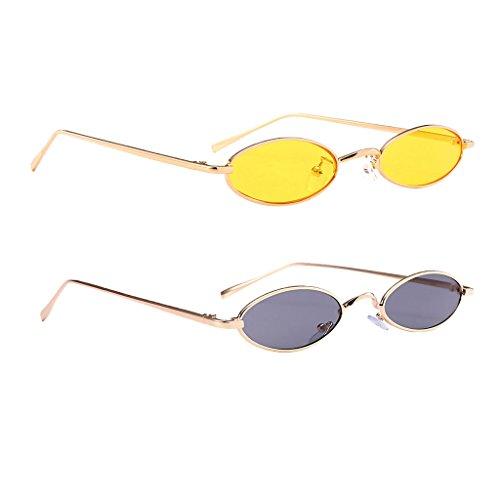Soleil Lens Lunettes Unisexe UV Homyl Rétro Cadre 2Pcs Protection Ovale de Lunettes BtzzCpq