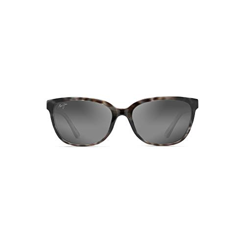 (Maui Jim Honi GS758-11S | Polarized Grey Tortoise Stripe cateye Frame Sunglasses, Neutral Lenses, with Patented PolarizedPlus2 Lens Technology)