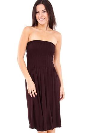 Strapless Seamless Brown Smocking Tube Dress at Amazon Women&-39-s ...