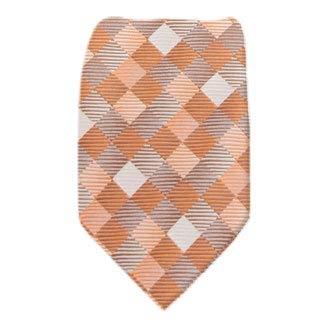 ZIP-12378 - Mens Orange Pattern Designer Zipper Zip Up Necktie Ties