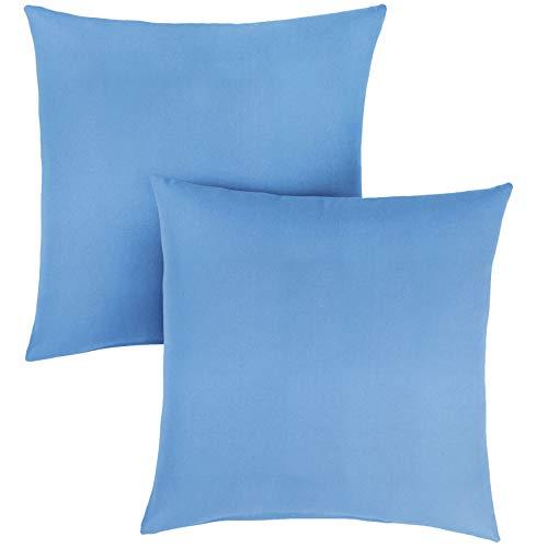 1101Design Sunbrella Canvas Capri Knife Edge Decorative Indoor/Outdoor Square Throw Pillow, Perfect for Patio Decor - Capri Blue 24