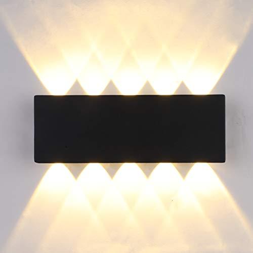 Lightsjoy Apliques de Pared LED 10W Lámpara de Pared Exterior Impermeable IP54 Luz de Aluminio Interior Moderna…