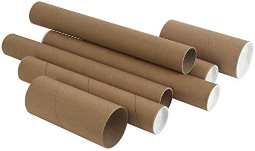 Kraft Mailing/Shipping Tubes with White End Caps by MT Products (2