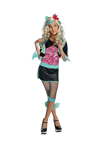 [Big Girls' Lagoona Blue Monster High Costume and Blue Wig Set] (Monster High Lagoona Blue Costume With Wig)