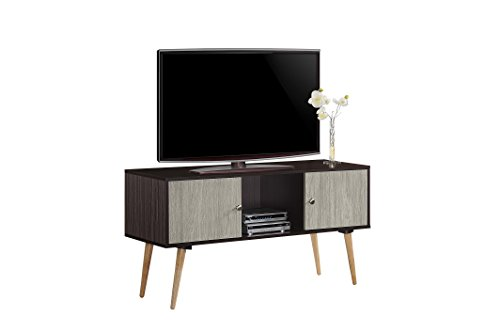 Hodedah Retro Style TV Stand with Two Storage Doors, and Solid Wood Legs, Chocolate (Unit Tv Retro)