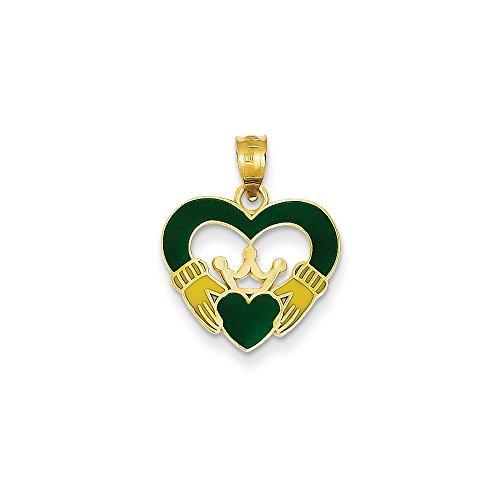 14K Yellow Gold Green Enamel Claddagh Ch - Green Gold Claddagh Charm Shopping Results