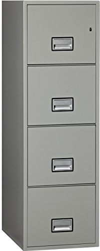 Phoenix Vertical 25 inch 4-Drawer Letter Fireproof File Cabinet - Light (Insulated Fireproof Filing Cabinet)